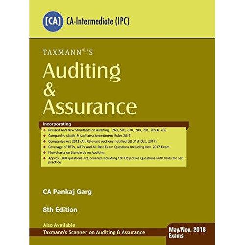 Taxmann's Auditing & Assurance for CA Inter (IPCC) May / Nov. 2018 Exam by CA. Pankaj Garg
