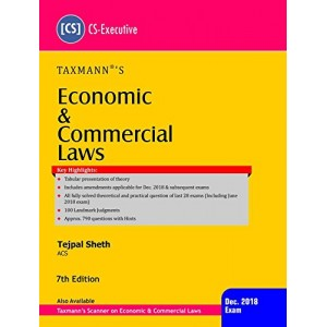 Taxmann's Economic & Commercial Laws (ECL) for CS Executive Dec. 2018 Exam by Tejpal Sheth