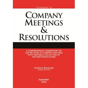 Taxmann's Company Meetings & Resolutions [HB] by Amitava Banerjee