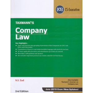 Taxmann's Company Law for CS Executive June 2019 Exam [New Syllabus] by N. S. Zad