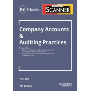 Taxmann's Cracker on Company Accounts & Auditing Practices for CS Executive December 2019 Exam [Old Syllabus] by N. S. Zad
