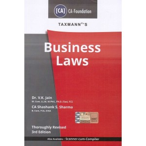 Taxmann's Business Laws for CA Foundation May 2020 Exam by V. K. Jain, CA. Shashank S. Sharma