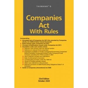 Taxmann's Companies Act with Rules (Paperback Pocket Edition 2020)