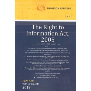 Thomson Reuters The Right to Information Act, 2005 [RTI - Bare Acts with Comment]