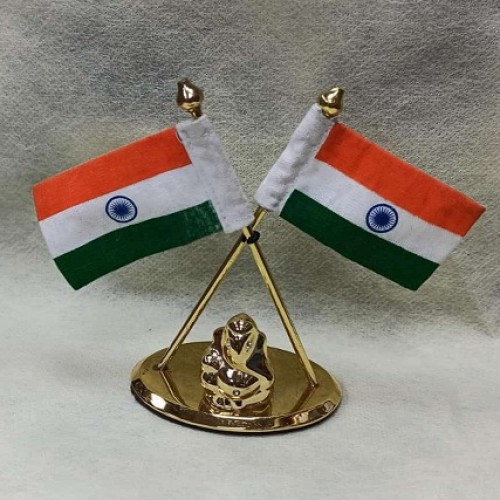 Indian Flag in Pair with Lord Ganesha Idol in Oval Shape Stand for All Car, Desk & Office Table Decoration