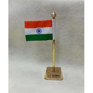Decor Gold Plated Metal Body Indian Flag in Khadi with Vande Mataram Symbol in Square Stand for All Car, Desk & Office Table Decoration