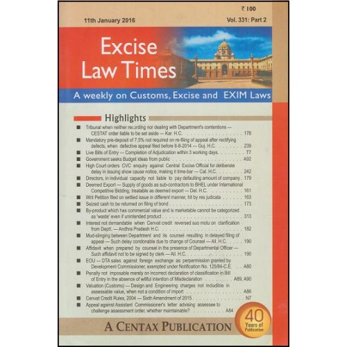 Centax Publications Excise Law Times (ELT) - Weekly Periodical by R. K. Jain (Annual Subscription 2017)