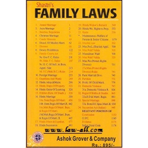 Adv. Madhav Shastri's Family Laws (Along with Case Laws) by Ashok Grover & Company, 2016 Edition.